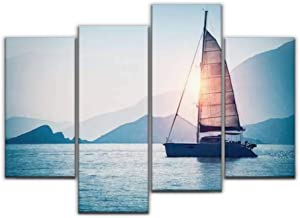 4 Panel Canvas Pictures Sailboat in the sea in the evening sunlight over beautiful big Home Decor Gifts Canvas Wall Art for your Living Room