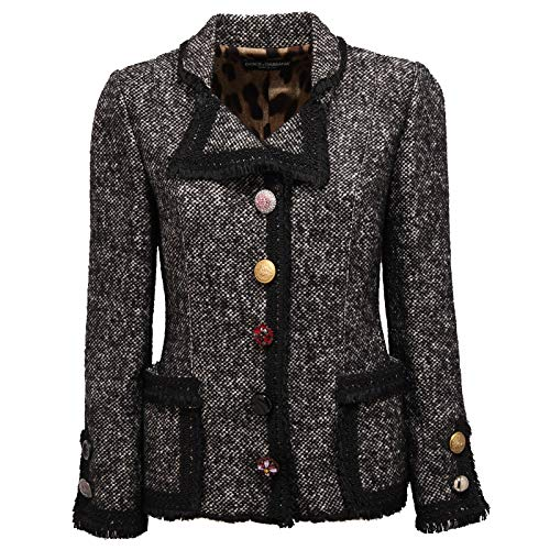 Dolce & Gabbana 8684Y Giacca Donna Mix Wool Button Jewels Jacket Woman [40]