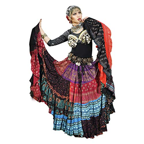 Senorita Falda tribal para danza del vientre fusión de 25 yardas ATS con estampado de bloques, 100% algodón