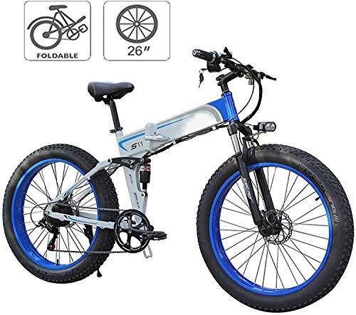 MQJ Ebikes Bicicletas Eléctricas Plegables para Adultos Bicicleta de Montaña 7 Velocidad M de Acero de 26 Pulgadas Ruedas Dual Suspensión Bicicleta Plegable Bicicleta E-Bicicleta Ligera para Unisex,A