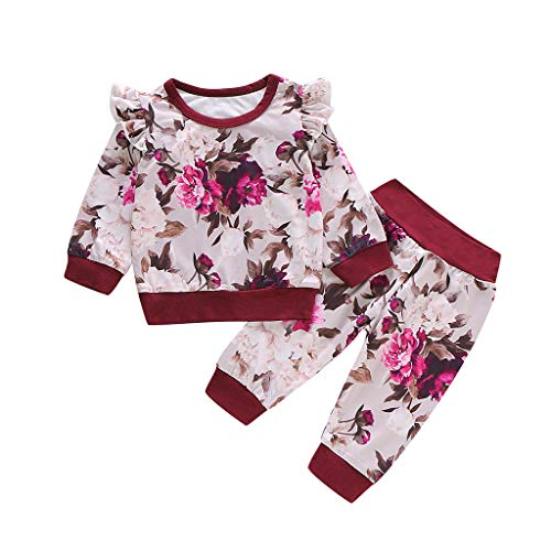 Säuglingsbaby Lange Hülsen Blumendruck Rüsche T Shirt Oberseiten + Hosen Ausstattungen