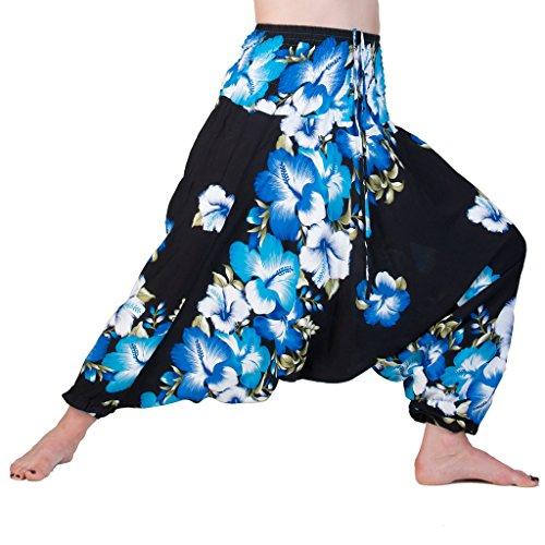PANASIAM Aladdin Pants, Hibiscus, in Blue