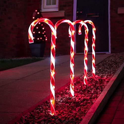 Festive Lights - 4er Set – beleuchtete Zuckerstangen Dekoration – 40 LEDs – strombetrieben - für Außen & Innen