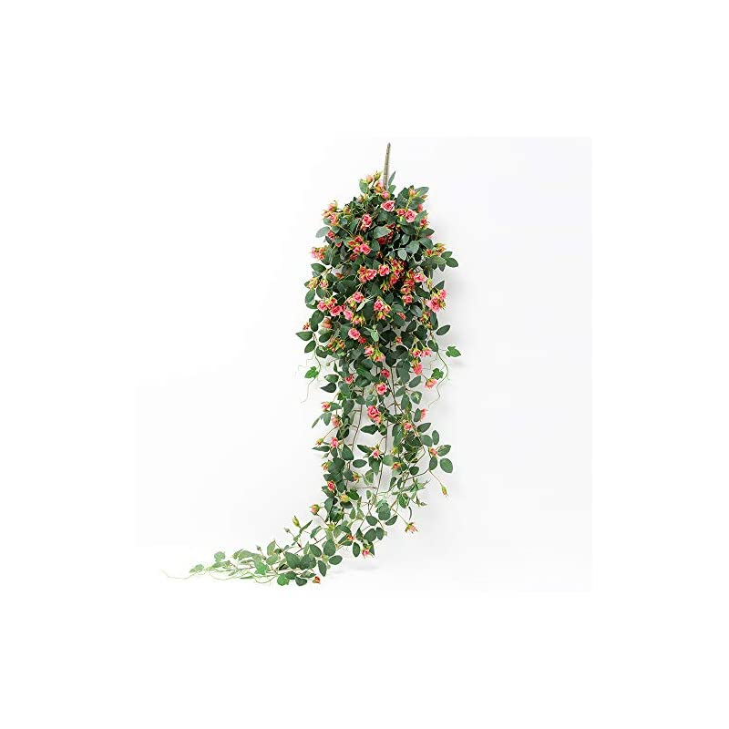 silk flower arrangements justoyou artificial hanging plants rose vine 5ft large fake flower greeny chain wall home room garden wedding indoor outdoor decorative (pink)