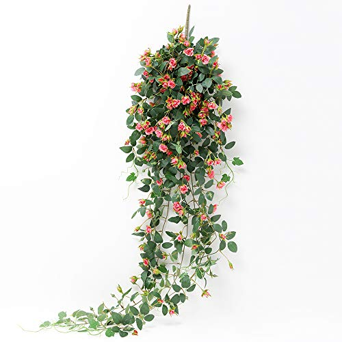 JUSTOYOU Artificial Hanging Plants Rose Vine 5FT Large Fake Flower Greeny Chain Wall Home Room...