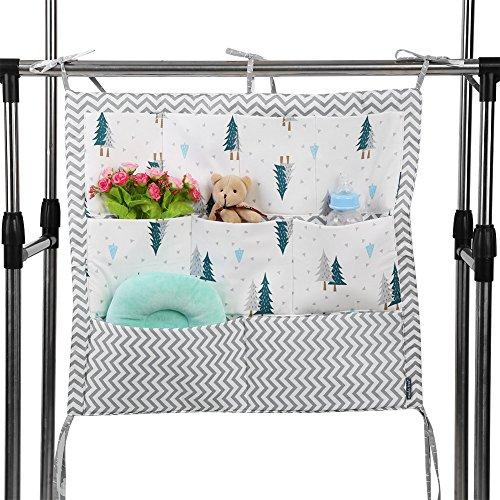 GOTOTOP Baby Hanging Aufbewahrungstasche, Babybett Spielzeug Windel Organizer mit 9 Taschen Unisex Platzsparende Aufbewahrungslösung für Badezimmer, Kinderzimmer(Grüner Baum)