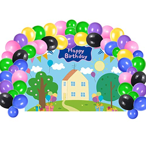 Cute Pig Birthday Party Supplies, Backdrop With Balloons Kit For Kids Photo Background, Gift For Girls or Boys