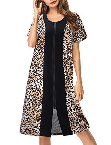 UUANG Damen Bademantel mit Reißverschluss, kurze Ärmel, Loungewear, knielang, mit Taschen, S-XXL Gr. Medium, leopard