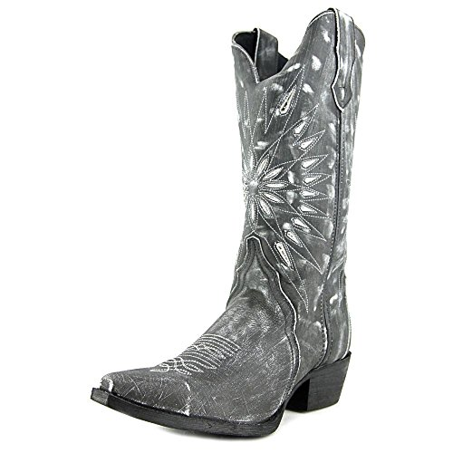Laredo Womens Black Starburst Leather Cowboy Boots 12in Cutout 8 M