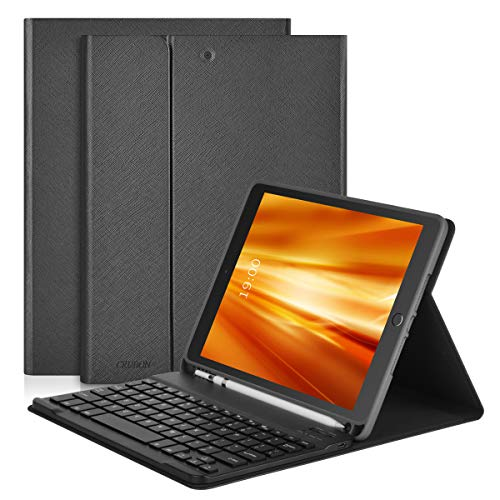 iPad Keyboard Case 7th Generation, 2019 10.2-inch iPad Case with Keyboard & Apple Pencil Holder, Wireless/BT - Multi-Angles Stand Tablet Cover Auto Sleep/Wake (4-Fold Gray)