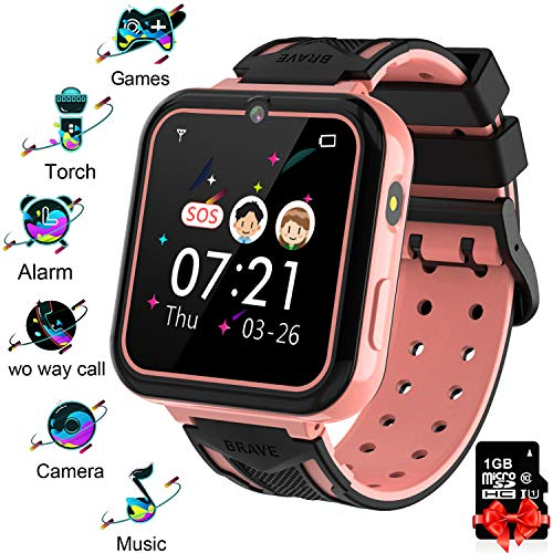 Kinder Smart Watch Telefon 7 Spiele - Taschenlampe geeignet für Armband Watches für Jungen und Mädchen im Alter von 3-12 Jahren, SOS MP3-Player Digitalkamera Wecker, Geschenk für Kinder Rosa