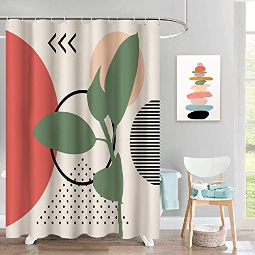 "Boho Modern Shower Curtain for Bathroom/Abstract Contemporary Art Minimalist Geometric Bath Waterproof Shower Curtains Set(72"" x 72"",Cream) (Cream)"