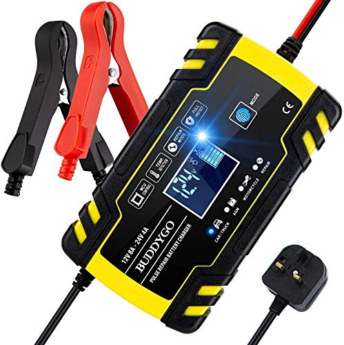 12V 24V 3-Stage Automatic Trickle Battery Charger Maintainer Intelligent Battery Charger with LCD Screen UK Plug for More Types of Batteries CQWL Car Battery Charger