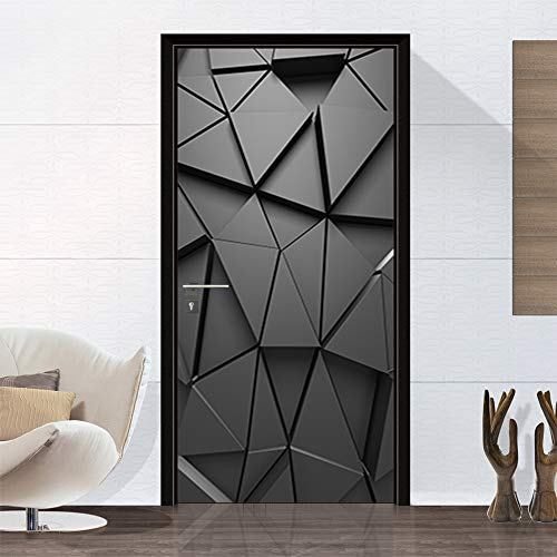 3D Door Mural Sticker, DIY Vinyl Self-Adhesive Removable Wall Mural Stickers Wallpaper Waterproof Abstract Geometry Door Wall Mural for Interior Doors Home Office Decoration, 77x200cm/30.3x78.7in