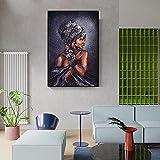 Póster e impresiones de arte de graffiti de mujeres negras africanas, pintura de lienzo de niña abstracta en la pared, imagen artística, decoración moderna del hogar, 70x90cm / 27.5 'x35.4' Sin marco