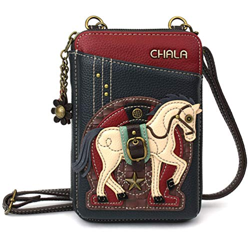 Chala Wallet Crossbody Cell Phone Purse-Women Faux Leather Multicolor Handbag with Adjustable Strap (Horse Gen II - Navy)