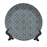 Plato decorativo de cerámica de 15,24 cm, estilo arabesco, motivos circulares antiguos, decoración de pared de cerámica decorativa accesorio para cenar, fiestas, bodas