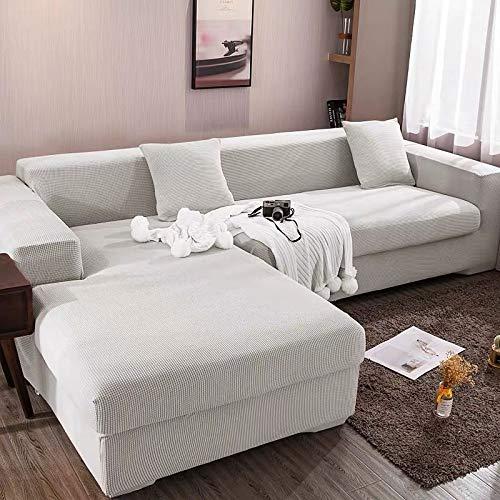 Funda elástica para sofá Chaise Longue, Funda para Sofa en Forma L, Funda Chaise Longue Derecho/Izquierdo (un sofá esquinero en L Requiere 2) (Color : B, Size : 2 plazas (145-185cm))