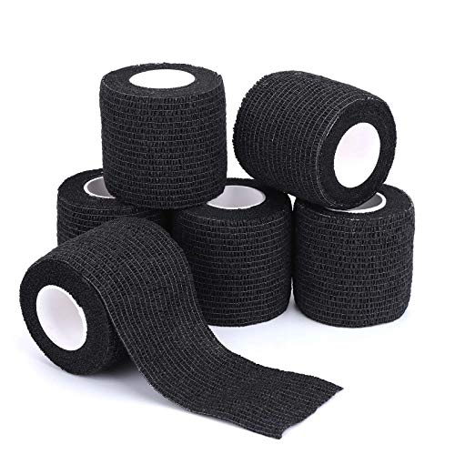 Self-Adhesive Cohesive Wrap Bandage Flexible Stretch Tape Athletic Strong Elastic First Aid Tape for Wrist, Ankle Sprains, Swelling 6 Packs, 2Inch X 5Yards