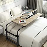 Overbed Table with Wheels, LITTLE TREE Multi-Function Height & Length Adjustable Mobile Table with Tiltable Stand Board, Works as Computer Desk, Writing Desk or Drafting Table (Oak.)