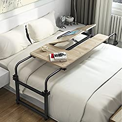 over floor standing desk for reading in bed -  Overbed Table with Wheels, LITTLE TREE Multi-Function Height & Length Adjustable Mobile Table with Tiltable Stand Board, Works as Computer Desk, Writing Desk or Drafting Table