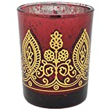 Boho Henna Mercury Glass Votive Candle Holder 2.75' Ruby - Excellent Home Decor - Indoor & Outdoor