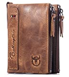 BULLCAPTAIN Genuine Leather Wallet for Men Vintage Bifold with Double Zipper Pockets (Brown)