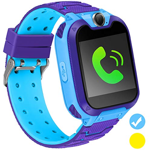 Kids Smart Watch Phone IPX5 Waterproof SmartWatch with 1.54 Inch Color HD Display Touch Screen Digital Camera Game Music Learning Call Watch 3-12 Ages Boy Girl Best Birthday Gift (Blue)