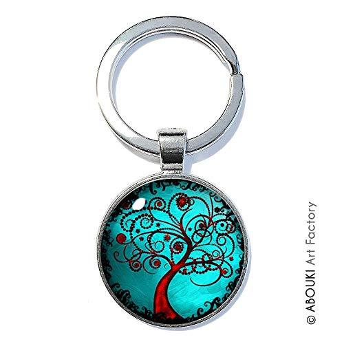 Lebensbaum Motiv Türkis - ABOUKI | handgefertigter Glücksbringer Taschenanhänger Schlüsselanhänger