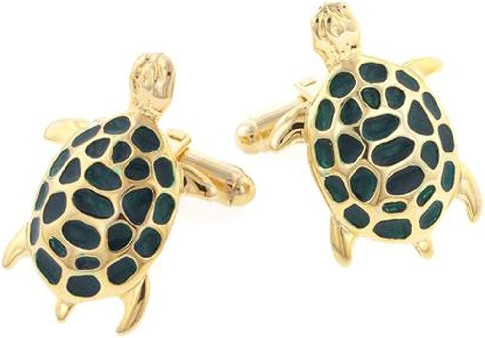 EZ Tuxedo Gold Plated Enamel Turtle Cufflinks