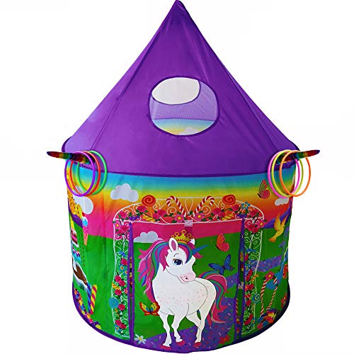Playz Unicorn Toys Kids Play Tent for Girls with Unicorn Ring Toss, Candy Board Game, & Tic Tac Toe - Indoor & Outdoor Pop up Playhouse Set for Kids Birthday Party Favors & Gifts for Baby and Toddlers