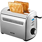 2 Slice Toaster, 1.6-inch Extra Width Cool Touch Toaster 2-Slice Self-Adjusting Slots, Compact Toasters with Defrost/Reheat/Cancel Function Extra Removable Crumb Tray, One Touch Quickly Toasts