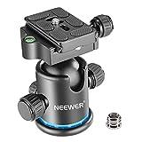 Neewer プロメタル三脚ボールヘッド 360度回転可 1/4インチクイックシュープレート、バブルレベル付き 三脚/一脚/スライダー/DSLRカメラビデオカメラに対応 耐荷重8kg(黒+青)