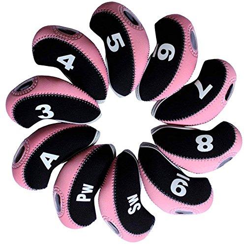 DBYAN Nummer Tag Golf Club & Keil Iron Head Covers Schlägerkopfhüllen mit Fenster Display, Neopren Material Stück 10,6Farben Optional, Schwarz/Pink