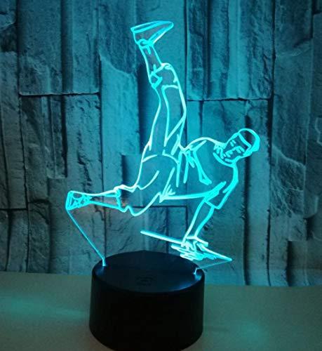 Zhoudd Night Light 3D visual lámpara 7 Colores Ambiente Lámparas para Habitación Great Gifts regalo de Navidad cumpleaños 3 Baterías AA o USB con Panel Acrílico Base ABS Hip-hop