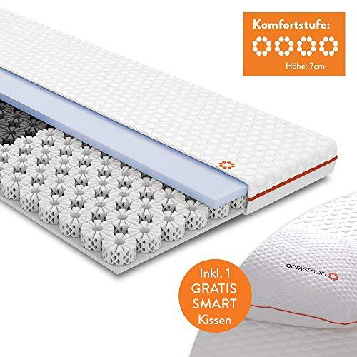 OCTASLEEP MediaShop Smart Topper 180x200 – kühlende Matratzenauflage mit Federn aus Memory Foam – 3 Zonen für ideale Unterstützung – atmungsaktiver Topper – mit Kissen