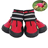 JunBo Petilleur 4Pcs Chaussure pour Chien Imperméable Bottes pour Moyen et Grand Chien avec Bande Réfléchissante (7#, Rouge)
