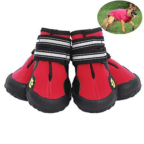 Petilleur Zapatos para Perros Antideslizantes Botas para Perros Mediano y Grandes (8#, Rojo)