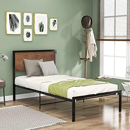 Cama de plataforma de metal con cabecero, cama de plataforma de metal, marco de cama individual con cabecero de madera para adultos y niños, 90 x 190 cm