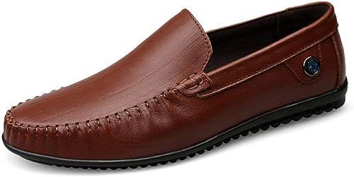 Willsego Chaussures, 2018 Mocassins Plats à à Talon Plat et à Talon Plat pour Hommes (Couleuré   Marron, Taille   43)  protection après-vente