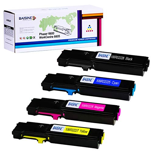 BAISINE Compatible Phaser 6600 Toner Cartridge for Xerox Phaser 6600 & WorkCentre 6605 Printer Ink - Extra High Yield- 106R02228 106R02225 106R02226 106R02227 Toner (4-Pack)