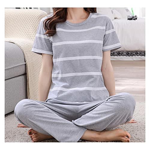 ESTK Conjunto de pijama de dos piezas de algodón suave para mujer, juego de pijama de manga corta y pantalones
