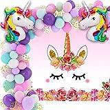 Unicorn Birthday Party Decorations for Girls Including Balloon Garland Arch Kit, Unicorn Photo Backdrop and Big Unicorn Shaped Balloons, decoracion de unicornio cumpleaños, globos de unicornio para niña