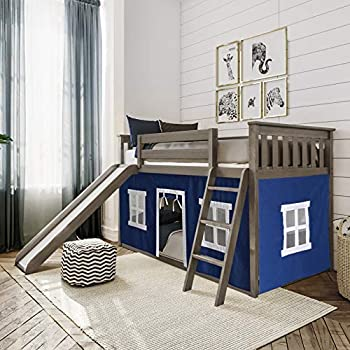 Max & Lily Low Bunk Bed with Slide and Blue Curtains Twin Clay