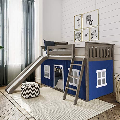 Max & Lily Low Bunk Bed with Slide and Blue Curtains, Twin, Clay