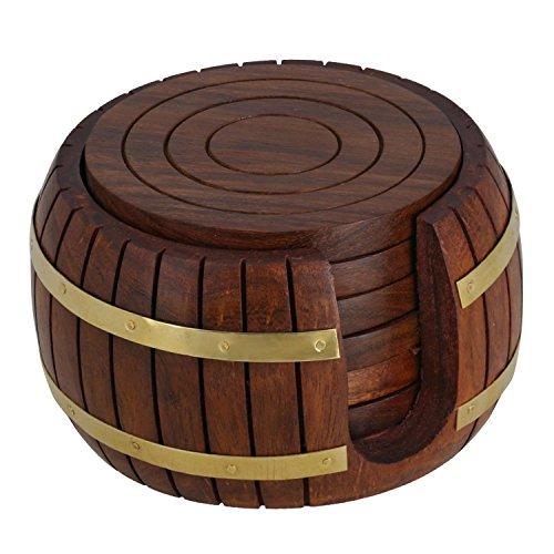 Rakhi Occasion Untersetzer für Teetassen aus Holz, 6 Untersetzer mit Aufbewahrungshalterung in Form eines Fasses, einzigartig für die Küche