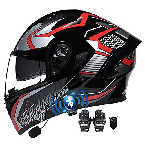 Bluetooth Integrato Casco Moto Full Face Guanti e Maschera con Integrale Doppia Visiera Certificazione ECE Anti Nebbia Casco Moto Modulare Riduzione del Rumore per Adulto 55~60cm
