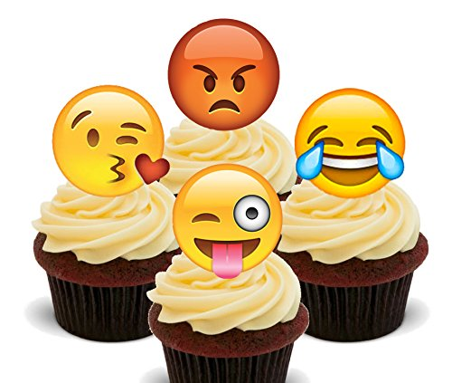 Emoji/Smiley Faces Edible Cupcake Toppers - Stand-up Wafer Cake Decoraties