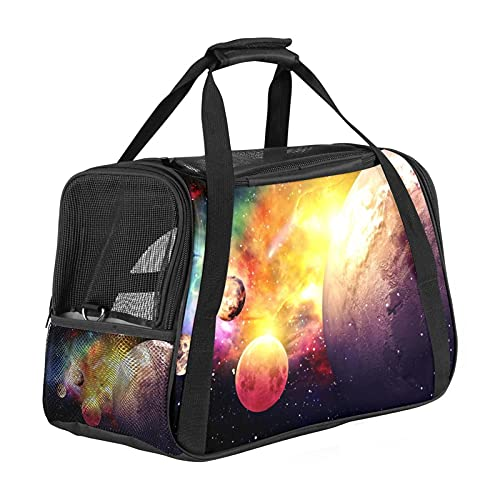 MEITD Cat Carrier, Portable Pet Carrier Bag, Top Loading Cat Carrier with Plush Mat Flodable Small Dog Carrier Transport Bag for Dogs Planets Galaxy