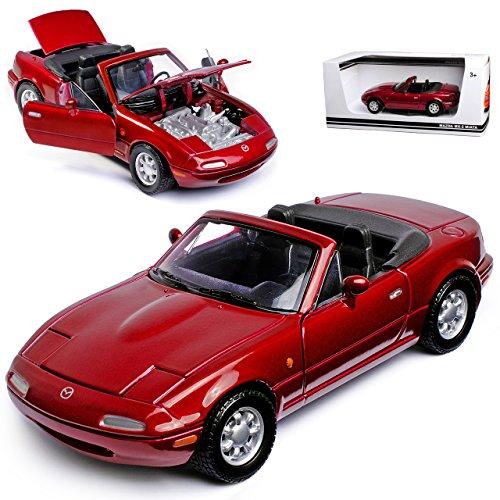 Motormax Mazda MX-5 Cabrio Dunkel Rot Metallic 1. Generation NA 1989-1998 1/24 Modell Auto